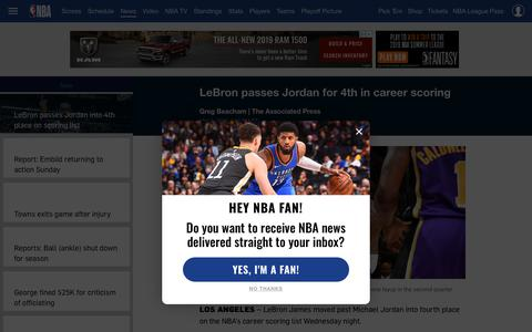 Screenshot of Press Page nba.com - NBA News and Headlines | NBA.com - captured March 10, 2019