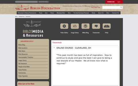 Screenshot of Testimonials Page biblosfoundation.org - Biblos Foundation - captured Sept. 30, 2014