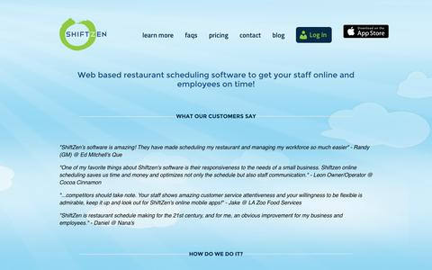 Screenshot of Pricing Page shiftzen.com - Best Online Restaurant Scheduling Software | Home - captured Oct. 26, 2014