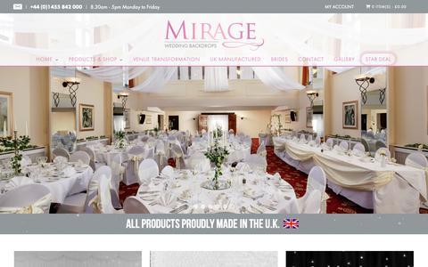 Screenshot of Home Page mirageweddingbackdrops.co.uk - Wedding Backdrops | Luxury Backdrops Made In UK - captured Oct. 22, 2018