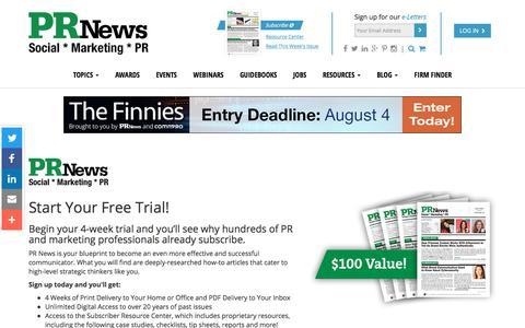 Screenshot of Trial Page prnewsonline.com - Start Your Trial – PR News - captured July 9, 2017