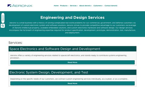 Screenshot of Services Page aeronix.com - Engineering and Design Services - captured July 29, 2018
