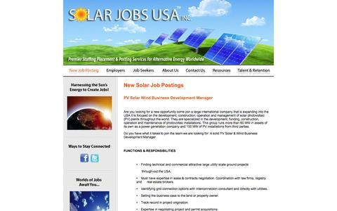 Screenshot of Jobs Page solarjobsusa.com - Solar Jobs USA :: New Solar Job Postings - captured Jan. 11, 2016