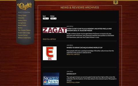 Screenshot of Press Page clydes.com - News & Reviews Archives | Clyde's - captured Sept. 18, 2014