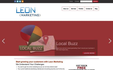 Screenshot of Home Page leonmarketing.org - Leon Marketing | Content Marketing Services Ireland - captured Sept. 29, 2014