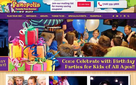 Screenshot of Home Page funopolisfamilyfuncenter.com - Funopolis Family Fun Center | Commerce, GA - captured Jan. 8, 2016