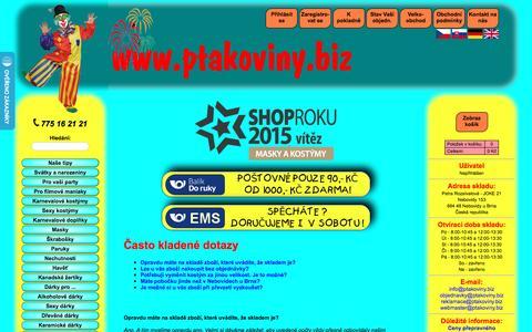 Screenshot of FAQ Page ptakoviny.biz - Ptákoviny *www.ptakoviny.biz* - captured March 9, 2017