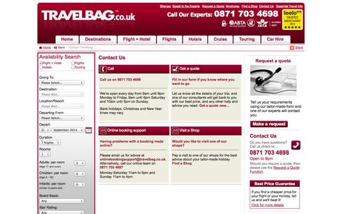 Screenshot of Contact Page travelbag.co.uk - Contact Travelbag – Ways to get in touch to Create a Luxury Holiday - captured Sept. 19, 2014