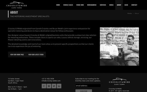 Screenshot of About Page crossley-webb.com - About Crossley & Webb - The Motoring Investment Specialists - captured Aug. 30, 2017