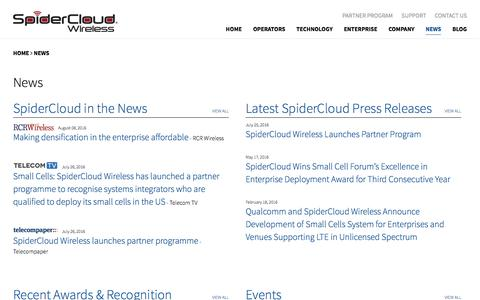 Screenshot of Press Page spidercloud.com - News | SpiderCloud Wireless - captured Sept. 20, 2016