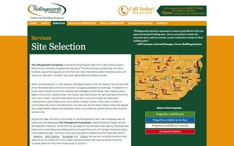 Screenshot of Services Page hollingsworthcos.com - Industrial Building Services Site Selection Finish Fund & Build to Suit AL NC TN VA GA KY MS OH SC | Hollingsworth - captured Oct. 26, 2014