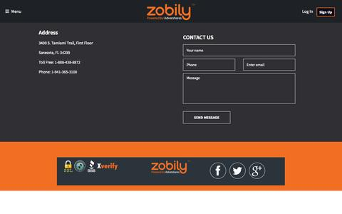 Screenshot of Contact Page zobily.com - Contact Us  - Zobily | Shop Save Share Earn - captured Oct. 7, 2014