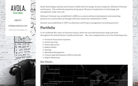 Screenshot of About Page avolatechnologies.com - About «  Avola - captured Nov. 6, 2018