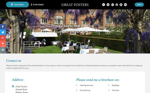 Screenshot of Contact Page greatfosters.co.uk - Contact Us - Great Fosters Hotel - captured Sept. 18, 2017