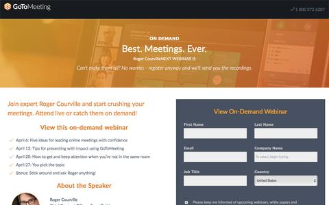Screenshot of Landing Page gotomeeting.com - Best. Meetings. Ever. - captured Oct. 12, 2017