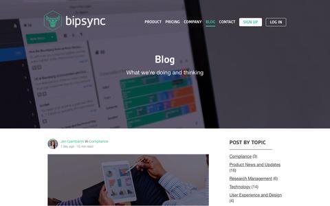 Screenshot of Blog bipsync.com - Bipsync Blog - RMS product design, technology and strategy - captured Nov. 26, 2015