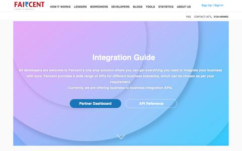 Screenshot of Developers Page faircent.com - Developers Guide | Faircent - captured Aug. 12, 2018