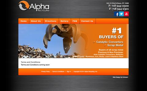 Screenshot of Terms Page alpharecyclingus.com - Terms and Conditions   Alpha Recycling - captured Oct. 4, 2014