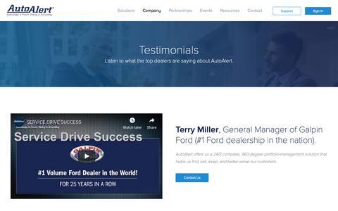 Screenshot of Testimonials Page autoalert.com - Automotive Dealer Testimonials for Equity Data Mining Software - captured Jan. 25, 2019