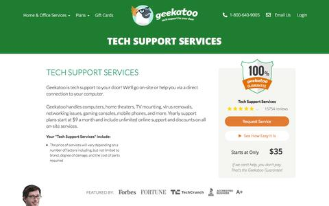 Screenshot of Services Page geekatoo.com - Tech Support Services - captured Nov. 18, 2015