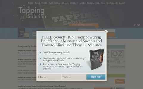Screenshot of FAQ Page thetappingsolution.com - Frequently Asked Questions (FAQ) Page - captured Oct. 26, 2015