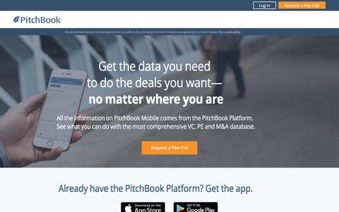 Screenshot of Landing Page pitchbook.com - New features on PitchBook Mobile - captured April 21, 2017