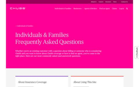 Screenshot of FAQ Page chubb.com - Individuals & Families Frequently Asked Questions - Chubb - captured July 29, 2016