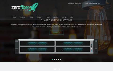 Screenshot of Home Page zerofiber.com - ZeroFiber - Shared, VPS, Dedicated Hosting & Anon VPNZeroFiber – Shared, VPS, and Dedicated Hosting – Delivered Fast, Simple, Secure.   Delivering quality affordable hosting - captured Oct. 5, 2014