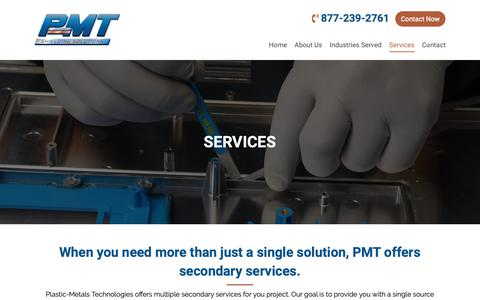 Screenshot of Services Page p-mtinc.com - Our Services - Plastic-Metals Technologies - captured Sept. 28, 2018
