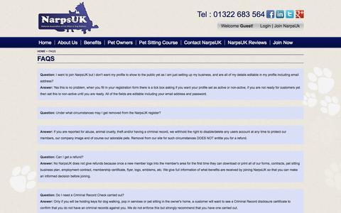 Screenshot of FAQ Page narpsuk.co.uk - Pet Sitting & Dog Walking FAQs - NarpsUK - captured Oct. 27, 2014