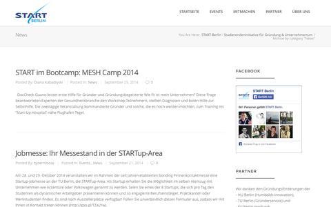 Screenshot of Press Page start-berlin.com - News Archives - START Berlin - Studierendeninitiative für Gründung & Unternehmertum - captured Oct. 3, 2014