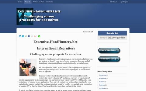 Screenshot of Home Page About Page executive-headhunters.net - Executive Headhunters net, Challenging career prospects for executives - captured Oct. 3, 2014