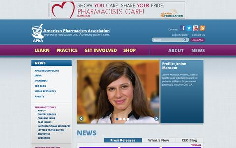 Screenshot of Press Page pharmacist.com - | American Pharmacists Association - captured Sept. 23, 2014