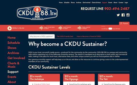 Screenshot of Support Page ckdu.ca - CKDU - captured Oct. 6, 2016