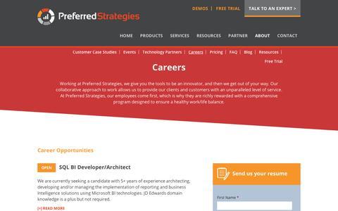 Screenshot of Jobs Page preferredstrategies.com - Careers - Preferred Strategies - captured July 21, 2018