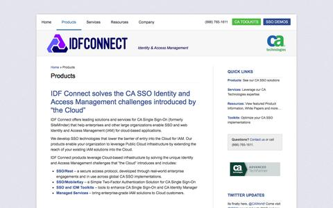 Screenshot of Products Page idfconnect.com - Products | Identity Access Management | SiteMinder - captured Feb. 2, 2016