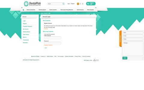 Screenshot of Login Page dentalpick.com - Account Login - captured Sept. 30, 2014