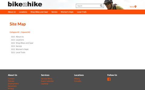 Screenshot of Site Map Page bikenhike.com - Sitemap - Best Bicycle Shops in Portland OR | Bike N Hike - www.bikenhike.com - captured Nov. 6, 2018