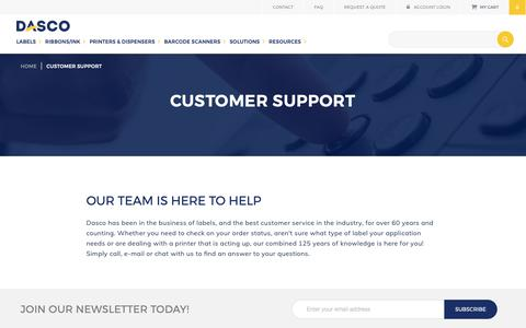 Screenshot of Support Page dasco.com - Customer Support   Labeling Solutions   Dasco - captured Oct. 7, 2018