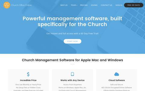 Screenshot of Home Page churchofficeonline.com - Church Management Software for Mac & Windows   Church Office Online - captured June 4, 2017