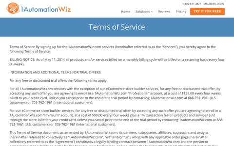 Screenshot of Terms Page 1automationwiz.com - 1AutomationWiz Terms of Service - captured June 24, 2017