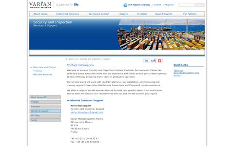 Screenshot of Support Page varian.com - Security and Inspection Services & Support - Varian - captured Sept. 10, 2014