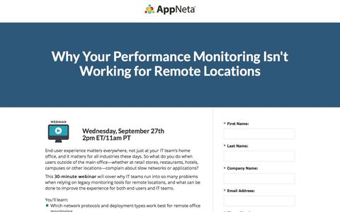 Screenshot of Landing Page appneta.com - End-User Performance Monitoring for Remote Locations - captured Sept. 16, 2017