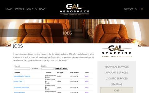 Screenshot of Jobs Page galaerospace.com - Gal Aerospace Jobs - captured Oct. 10, 2016
