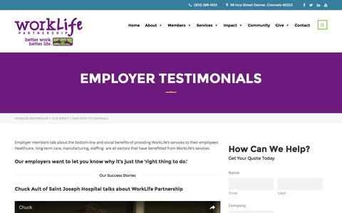 Screenshot of Testimonials Page worklifepartnership.org - Employer Testimonials – WorkLife Partnership - captured Dec. 18, 2016