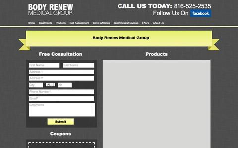 Screenshot of Products Page bodyrenewmedical.com - Products | Body Renew Medical - captured Oct. 1, 2014
