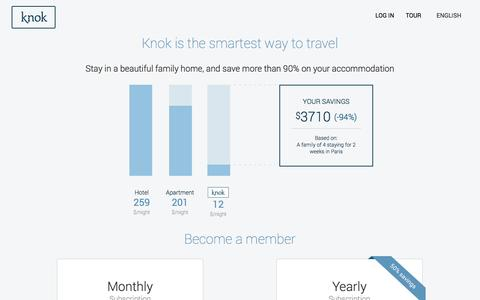 Screenshot of Pricing Page knok.com - Family travel network. Prices and savings. - captured Sept. 16, 2014