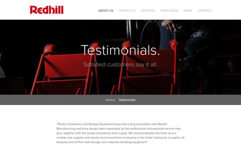 Screenshot of Testimonials Page redhillmanufacturing.co.uk - Testimonials - captured Dec. 3, 2016