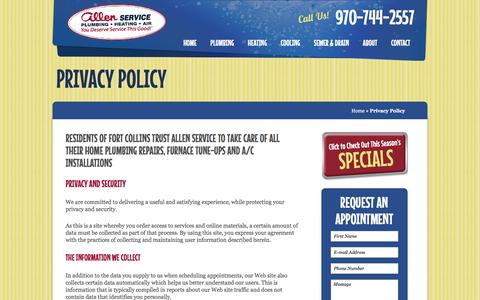 Screenshot of Privacy Page allenservice.com - Privacy Policy - Allen Plumbing & Heating - captured Feb. 5, 2016
