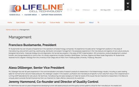 Screenshot of Team Page lifelinecelltech.com - Human Cells and Optimized Culture Media Experts - captured Nov. 7, 2016